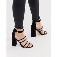 London rebel clear strap heeled sandals - black