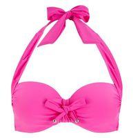 Biustonosz bikini z ramiączkami wiązanymi na szyi bonprix bez, kolor fioletowy