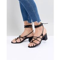 strappy block heeled sandal - black, Monki