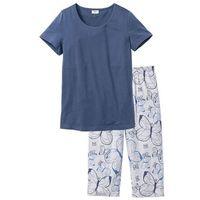 Piżama ze spodniami 3/4 bonprix indygo - jasnoszary melanż z nadrukiem