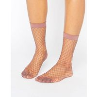 Asos oversized fishnet ankle socks in mauve - purple