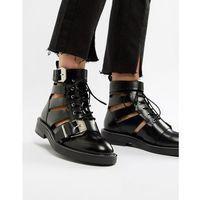 Asos design premium archer leather cut out ankle boots - black