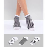 monochrome printed 3 pack ankle socks in leopard and feather - black marki Fruitcake
