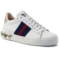 Sneakersy STOKTON - 758-D Vitello Bianco/Nastro Arancio/Verde, kolor biały