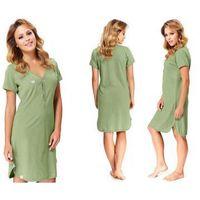 Koszula nocna ANNA: zielony, kolor zielony