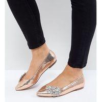 ASOS VIVID Wide Fit Embellished Ballet Flats - Gold