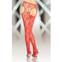 Crotchless Tights 5505 - red rajstopy open otwarty krok