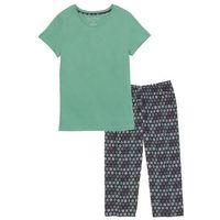 Piżama ze spodniami 3/4 bonprix zielony szałwiowy - czarny z nadrukiem, w 7 rozmiarach