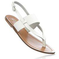 Sandały skórzane bonprix biały, kolor biały