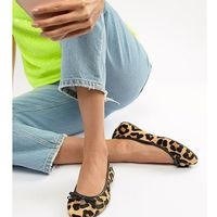 Dune Wide Fit Harps Faux Leopard Ballet Flat Shoes - Yellow, kolor żółty