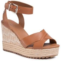 Espadryle - th raffia high wedge sandal fw0fw04842 summer cognac gu9 marki Tommy hilfiger