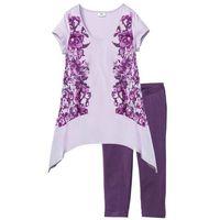 Piżama ze spodniami 3/4 jagodowo-bez z nadrukiem, Bonprix, S-XXXXL