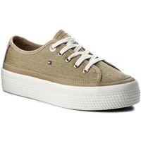 Sneakersy TOMMY HILFIGER - Glitter Textile Flatform Sneaker FW0FW02457 Sand 102