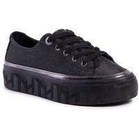 Sneakersy - tommy sparkle flatform sneaker gunemetal 0gq marki Tommy hilfiger