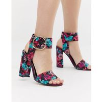 heeled sandals with buckle detail in floral print - multi marki River island