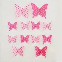 Naklejki 3d motyle różowe kropki, 12 szt., marki 4home