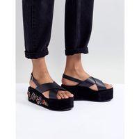 black embroidered flatform sandals - black marki Glamorous