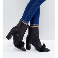 black snake bow detail heeled ankle boots - black, The march
