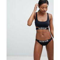 Calvin Klein Strap Bralette Logo Bikini Top - Black, kolor czarny