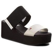 Klapki - meterial mix flatform sandal en0en00217 off white 156 marki Tommy jeans