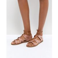 Office Saffy Leather Gladiator Lace Up Sandals - Pink, kolor różowy