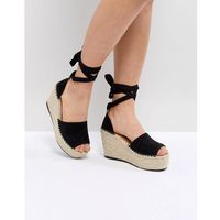 RAID Brigid Black Espadrille Wedge Sandals - Black