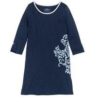 Koszula nocna, bawełna organiczna bonprix ciemnoniebieski z nadrukiem, bawełna