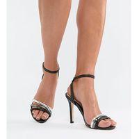 Aldo strap leather heeled sandal - black