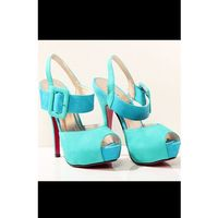 Ideal shoes 3420-1 dwukolorowe szpilki, z regulowanym paskiem - niebieski/zielony