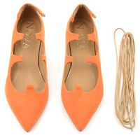 Zamszowe baleriny Clarissa pomarańcz