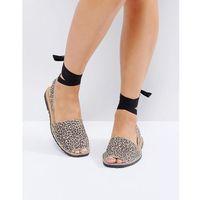 flat tie leopard ankle suede sandal - multi marki Park lane