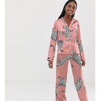 Asos tall Asos design tall cheetah satin pyjama trouser set - pink