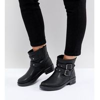Asos accent wide fit studded biker ankle boots - black