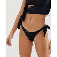 Lost Ink wrap tie side bikini bottoms in black - Black, kolor czarny