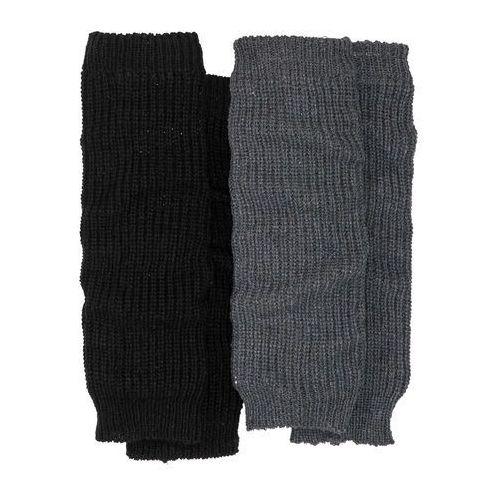 Getry na nogi (2 pary) bonprix antracytowy melanż + czarny, kolor czarny