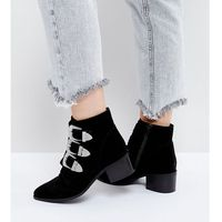 ASOS RELIEVE Wide Fit Suede Buckle Ankle Boots - Black, kolor czarny