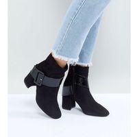 Lost ink wide fit black buckle detail heeled ankle boots - black