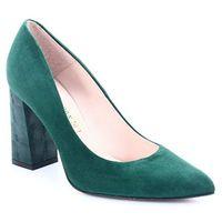 1605 zielone - czółenka na słupku - zielony marki Bravo moda