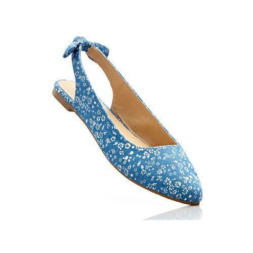 Bonprix Baleriny z odkrytymi piętami niebieski dżins - piaskowy w kwiatową łączkę