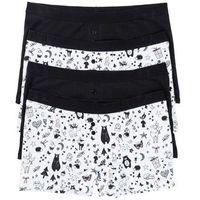 Bokserki damskie (4 pary) bonprix czarno-biel wełny z nadrukiem, bawełna