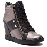 Sneakersy TOMMY HILFIGER - Wedge Sneaker FW0FW03687 Black 990, kolor szary