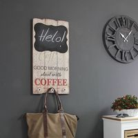 """Drewniana tablica dekoracyjna """"Good morning start with coffee"""", tablica do pisania, wieszak."""