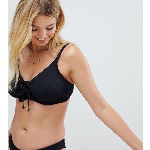 Pour Moi Fuller Bust Escape underwired lace up bikini top in black rib - Black, w 4 rozmiarach