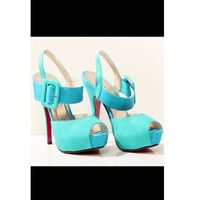 3420-1 dwukolorowe szpilki, z regulowanym paskiem - niebieski/zielony marki Ideal shoes