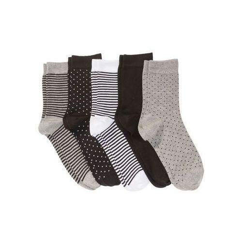 Skarpetki damskie (5 par) bonprix czarno-biało-szary melanż wzorzysty, bawełna