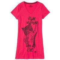 Koszula nocna różowy hibiskus z nadrukiem marki Bonprix