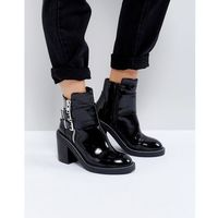ASOS ELABY Leather Patent Heeled Ankle Boots - Black, kolor czarny