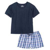 Piżama z krótkimi spodenkami ciemnoniebieski wzorzysty marki Bonprix