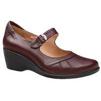 Półbuty na koturnie AXEL Comfort 1147 Rubin Bordowe buty na haluksy H - Bordowy ||Rubinowy, kolor czerwony