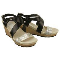 Nik 07-0142-019 srebrno/czarny, sandały damskie